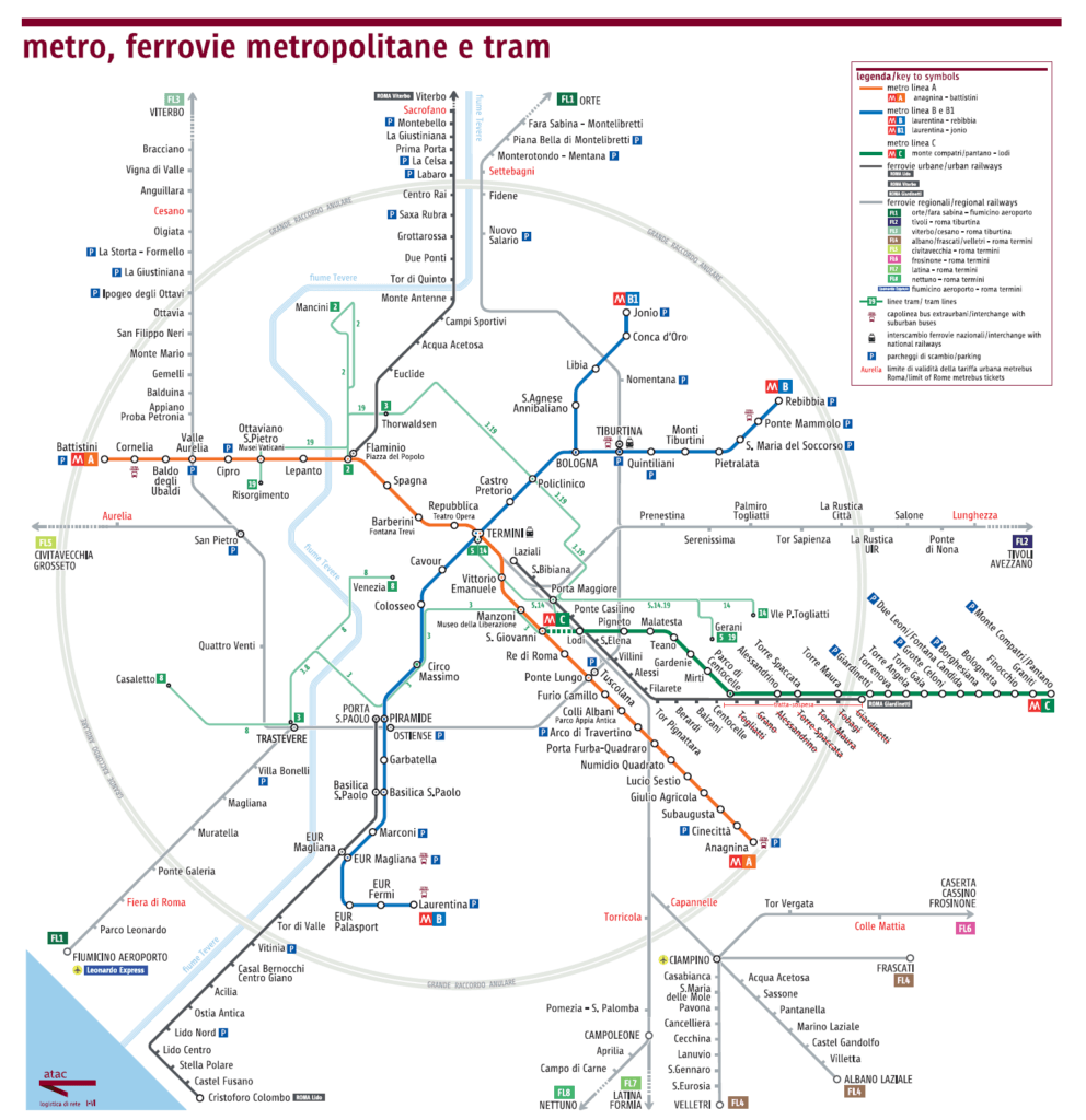 Rome Transport Map - Rome Vacation Tips
