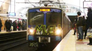 Graffiti tag on Rome Metro train